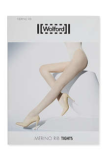 WOLFORD Ribbed merino wool tights