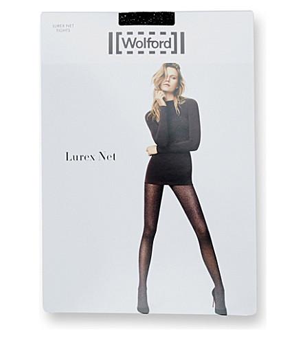 WOLFORD Lurex Net tights (Black+silver