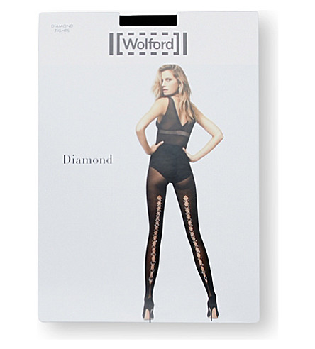 WOLFORD Diamond tights (Black+jet+hematite