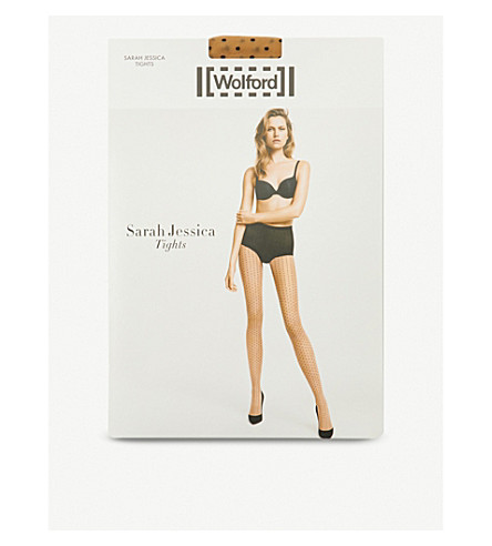 WOLFORD Sarah Jessica polka dot tights (Gobi+black