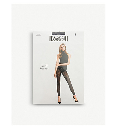 WOLFORD Avril jacquard net leggings (Black