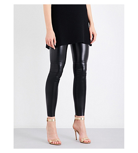 WOLFORD Estella leatherette leggings (Black