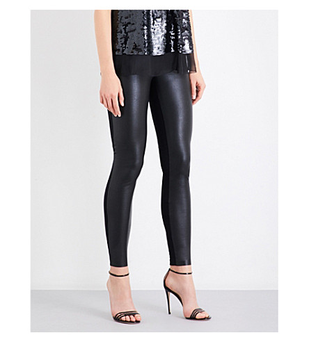 WOLFORD Lindsey leatherette and stretch-jersey leggings (Black