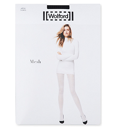 WOLFORD Mesh patterned tights (Black