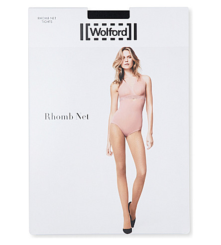 WOLFORD Rhomb net tights (Black