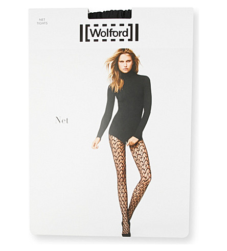 WOLFORD Open-knit net tights (Black
