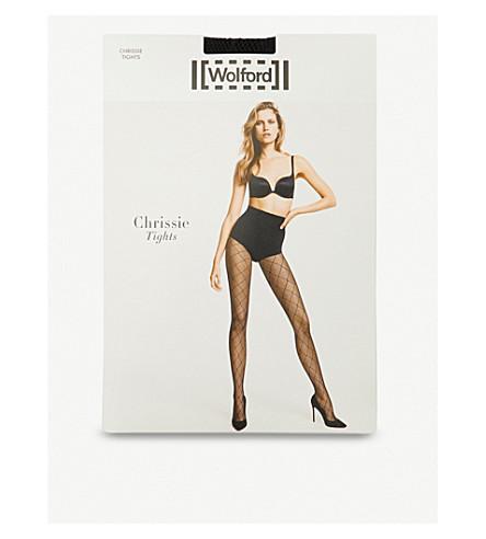 WOLFORD Chrissie diamond-mesh tights (Black