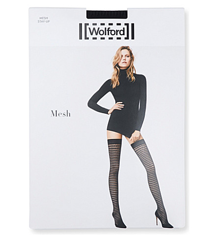 WOLFORD Diamond-patterned net stay-ups (Black