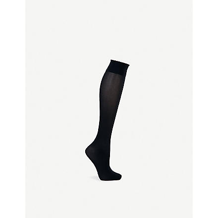 WOLFORD Velvet de Luxe 50 knee–highs (Black