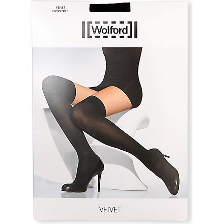 WOLFORD Velvet over-the-knees socks (Black