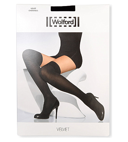 WOLFORD Velvet over-the-knees socks (Black