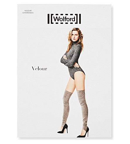 WOLFORD Velour stretch faux-suede overknees (Black