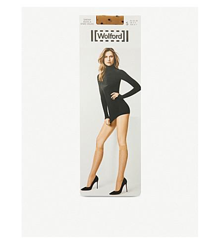 WOLFORD Sarah Jessica polka dot knee-high socks (Gobi+black