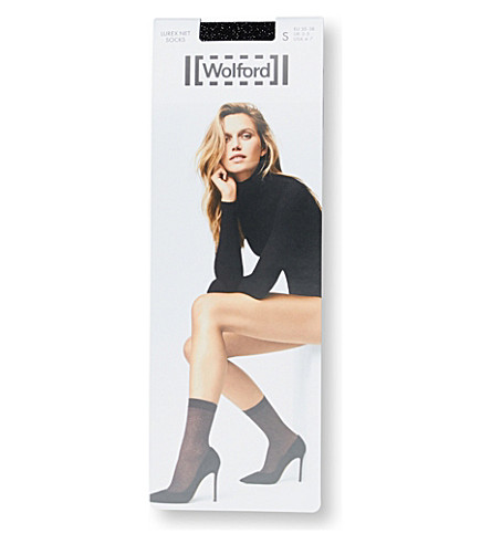 WOLFORD Lurex net socks (Black+silver