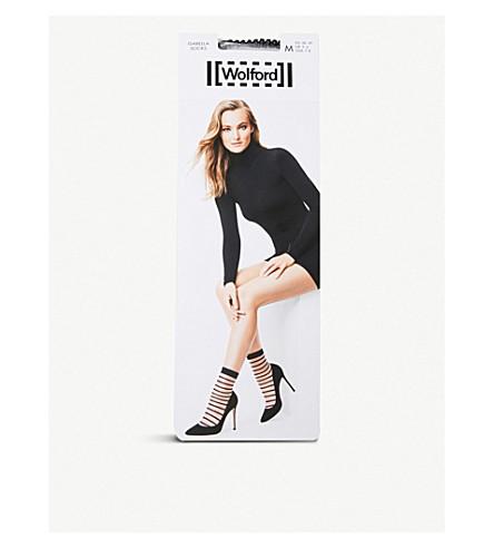 WOLFORD 伊莎贝拉透视袜子 (白色 + 黑色