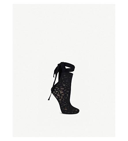 WOLFORD 阿米莉亚尼龙袜子 (黑色 + 黑色