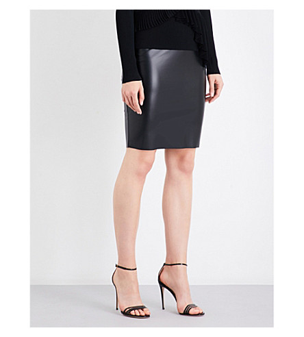 WOLFORD Estella leatherette pencil skirt (Black
