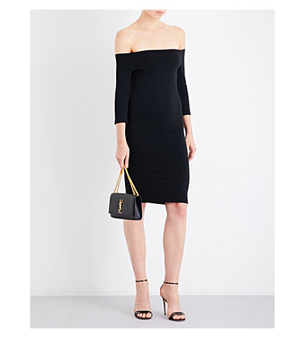WOLFORD Sheen off-the-shoulder stretch-jersey dress (Black