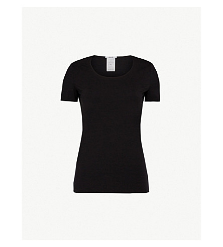 WOLFORD Scoop neck jersey T-shirt (Black