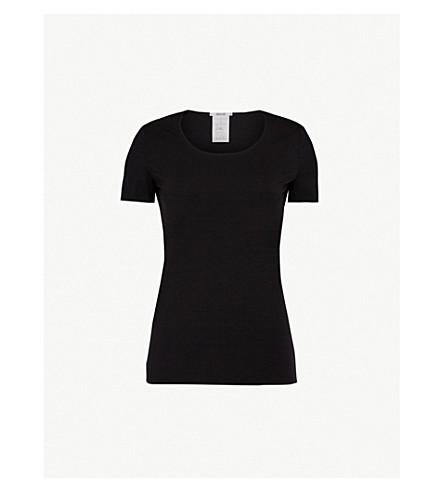 WOLFORD 大圆领平纹针织面料 T 恤 (黑色