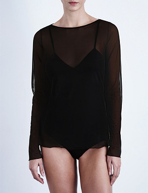 WOLFORD Semi-sheer tulle top