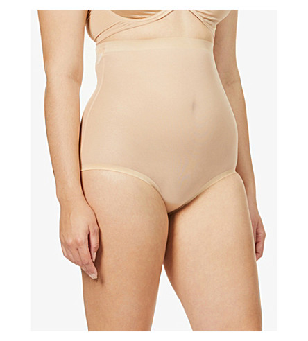 WOLFORD High-rise tulle control briefs (Nude