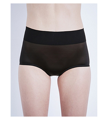 WOLFORD Sheer touch high-rise control briefs (Black