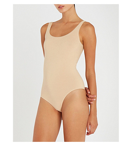 WOLFORD Jamaika String stretch-jersey body (Toasted+almond