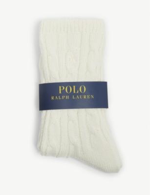 Cable-knit cotton blend socks