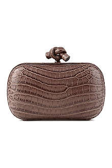 BOTTEGA VENETA Knot mock-croc leather clutch