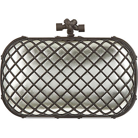 BOTTEGA VENETA Grid metallic clutch (Plat