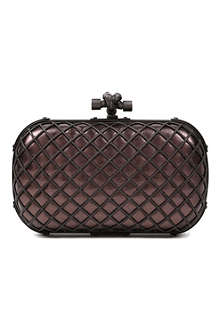 BOTTEGA VENETA Knot grid metallic clutch
