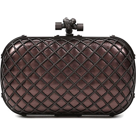 BOTTEGA VENETA Knot grid metallic clutch (Smog