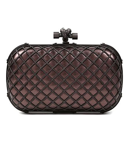 BOTTEGA VENETA Grid Knot nappa-leather clutch (Smog