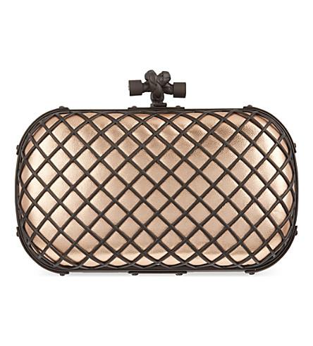 BOTTEGA VENETA Grid nappa-leather knot clutch (Rame