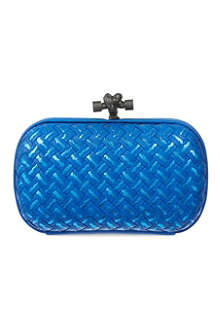 BOTTEGA VENETA Metallic woven knot clutch