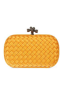 BOTTEGA VENETA Woven satin knot clutch