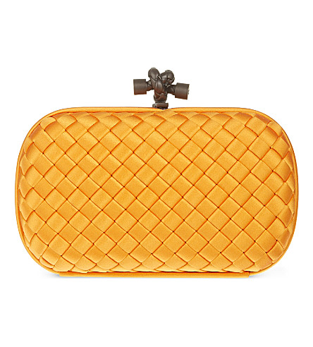 BOTTEGA VENETA Impero Ayers Intreccio satin knot clutch (Sun