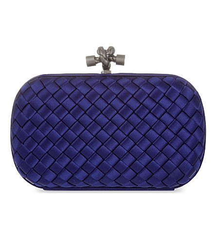 BOTTEGA VENETA Intreccio Impero satin knot clutch (Atlantic