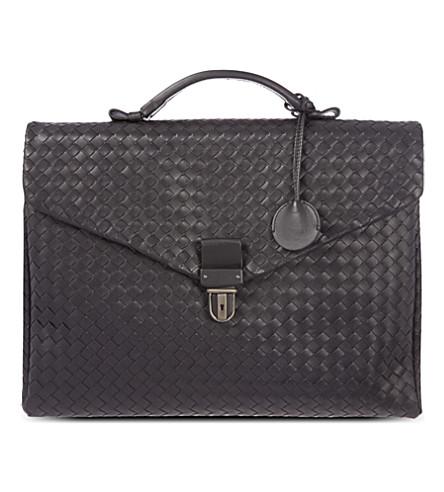BOTTEGA VENETA Woven briefcase (Nero