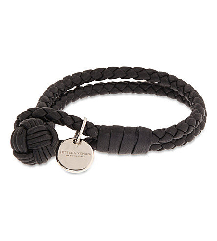BOTTEGA VENETA Double woven leather bracelet (Nero