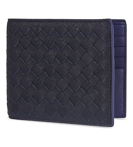 BOTTEGA VENETA Intrecciato woven leather billfold wallet (Dark+navy+atlantic