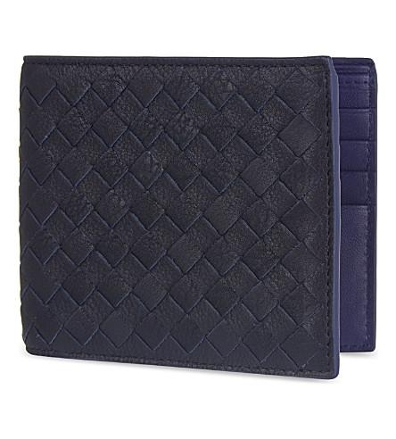 BOTTEGA VENETA Intrecciato woven leather billfold wallet (Dark+navy+atlantic