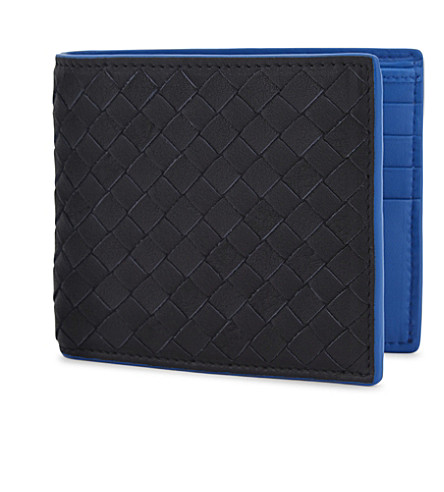 BOTTEGA VENETA Intrecciato woven leather billfold wallet (Dark+navy+bluette