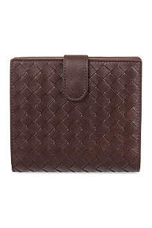 BOTTEGA VENETA French woven leather zip coin purse