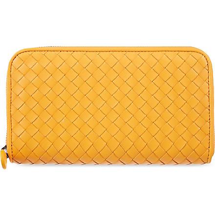 BOTTEGA VENETA Woven zip-around wallet (Sun