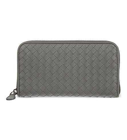 BOTTEGA VENETA Intrecciato zip-around leather wallet (New+lgrey