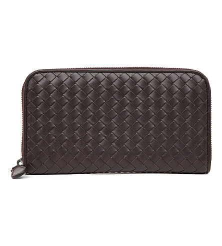 BOTTEGA VENETA Intrecciato leather zip-around wallet (Espresso