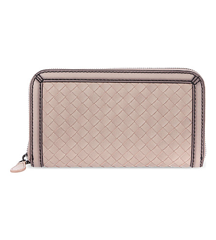 BOTTEGA VENETA Woven zip wallet (Blush