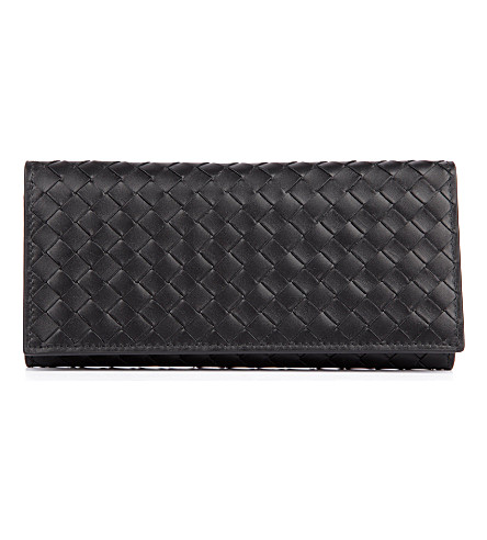 BOTTEGA VENETA Intrecciato leather wallet (Nero